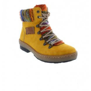 Rieker Z6743-68 Ladies Yellow Combination Zip Up Ankle Boots